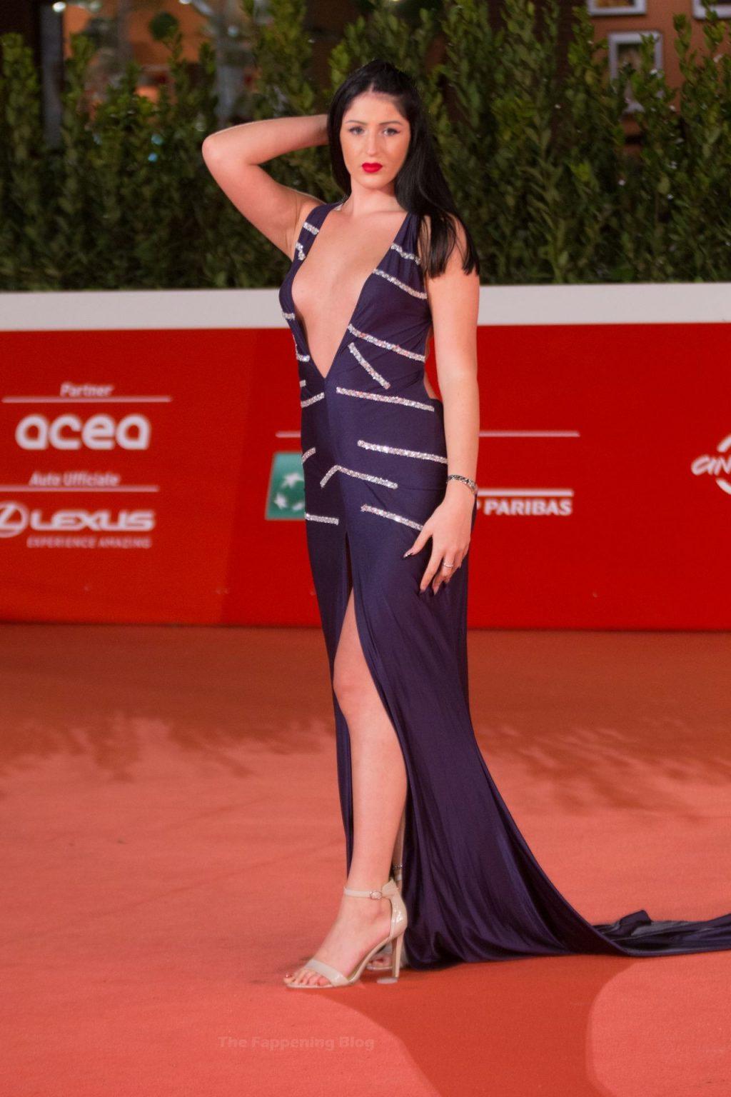 Veronica Panzera Displays Her Deep Cleavage in Rome (7 Photos)