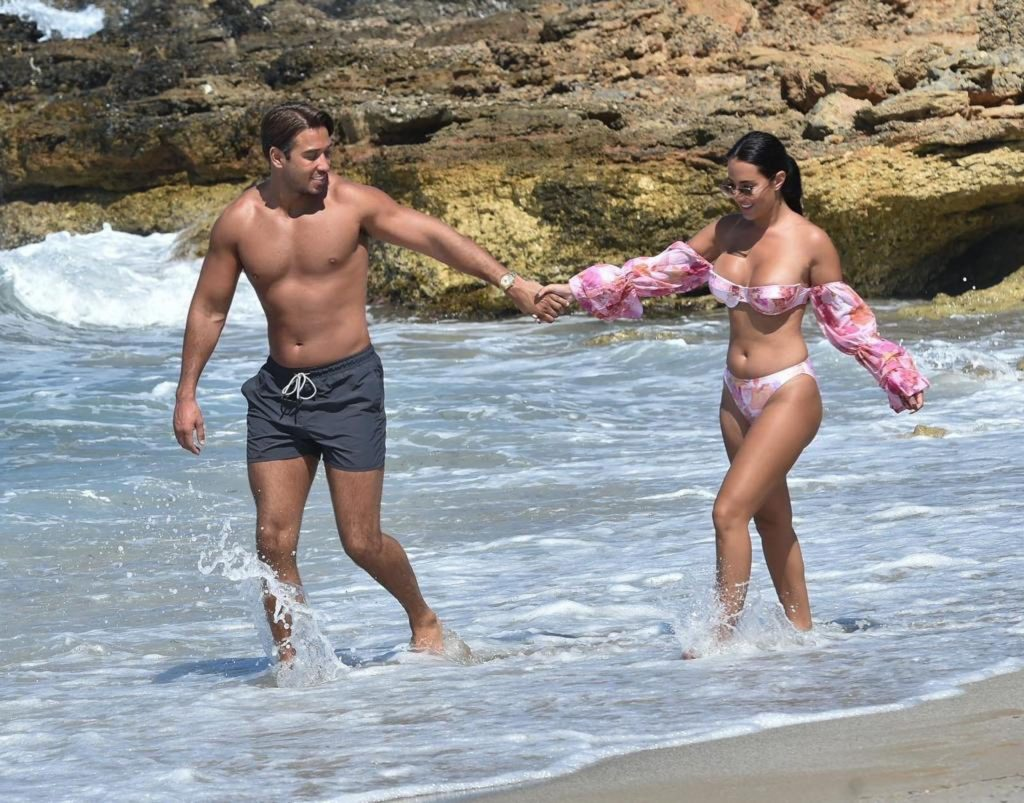 Yazmin Oukhellou & James Lock Are Seen on the Beach in Cyprus (10 Photos)