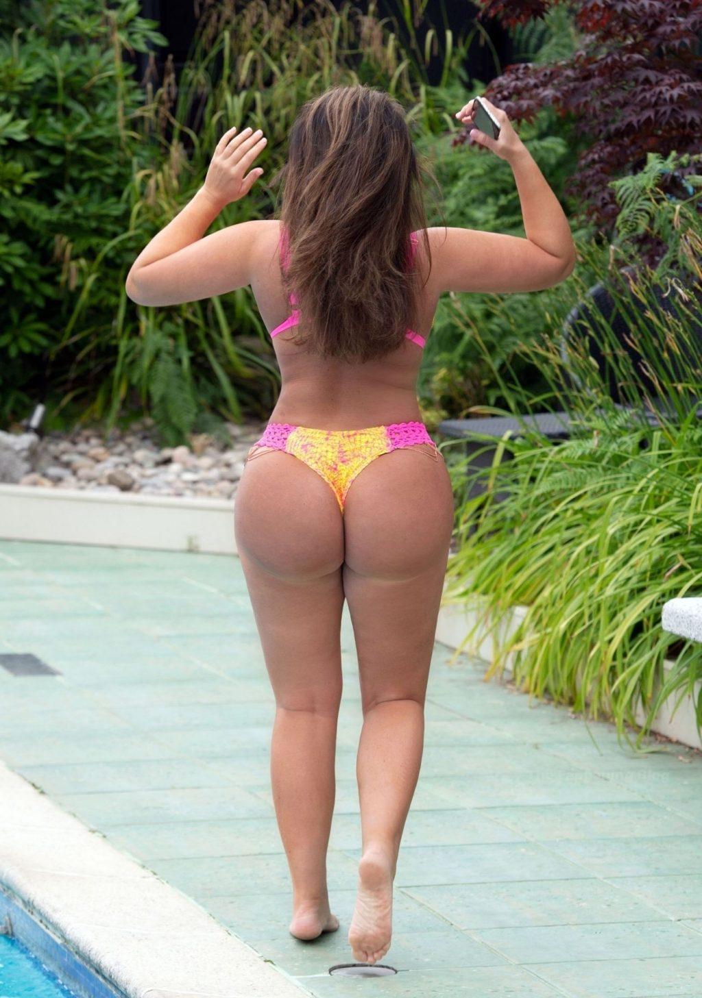 Lauren Goodger is Seen Wearing an Orange a Yellow and Pink Bikini in Kent (12 Photos)