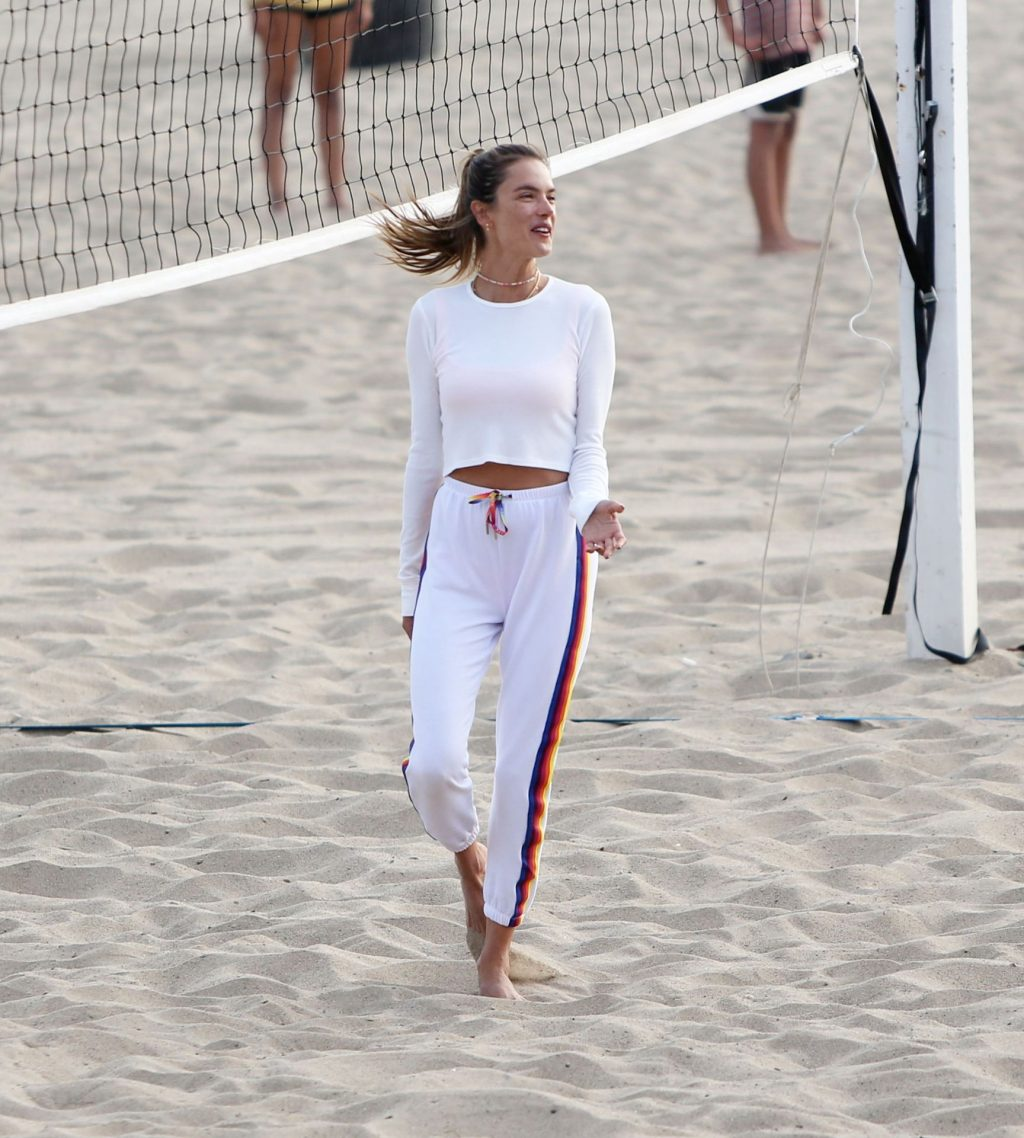Alessandra Ambrosio Dons Sexy White Crop Top For Beach Volleyball Sesh (63 Photos)