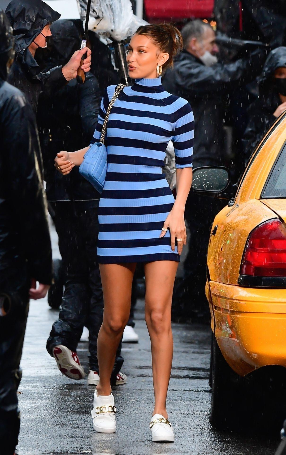 Bella Hadid Upskirt Leggy In New York