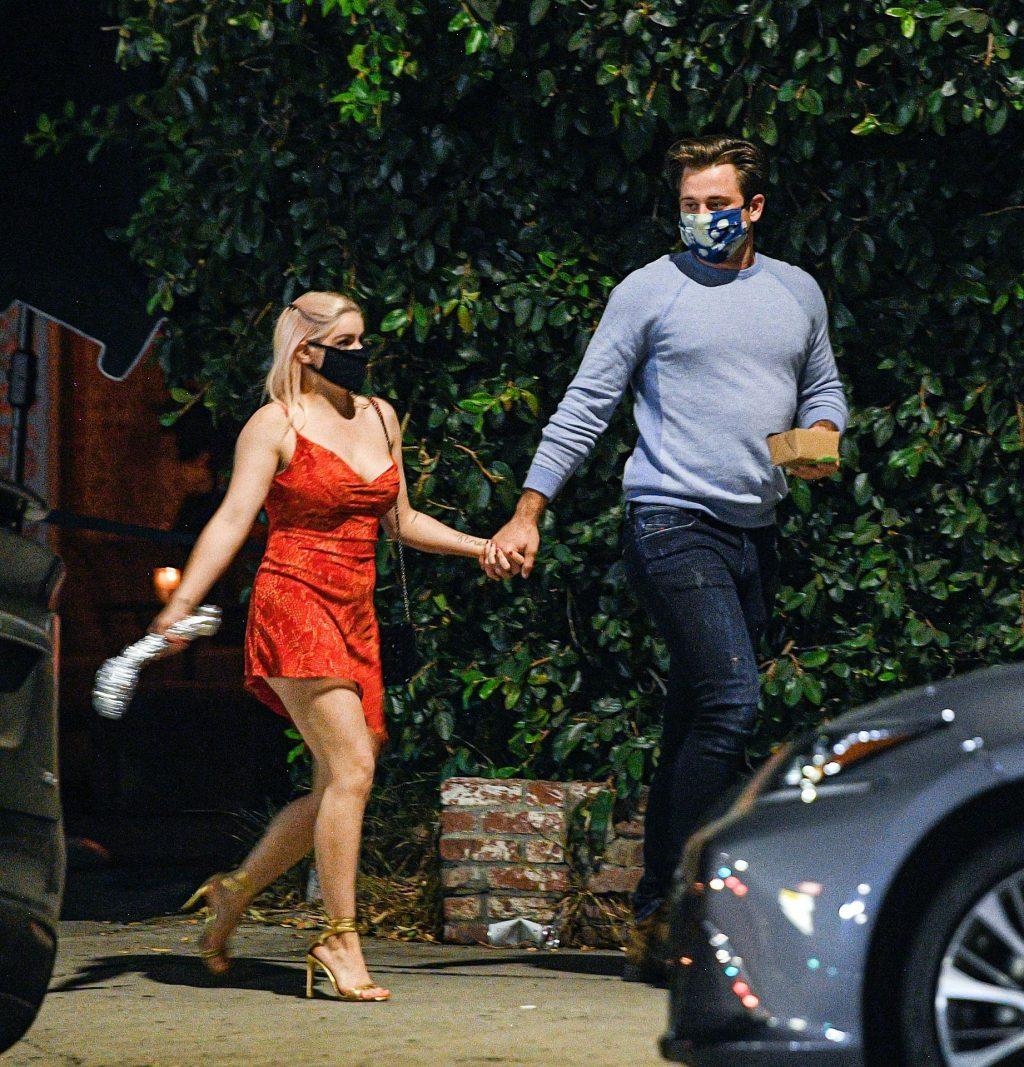 Ariel Winter Wears a Red Dress During Dinner Date in LA (23 Photos)