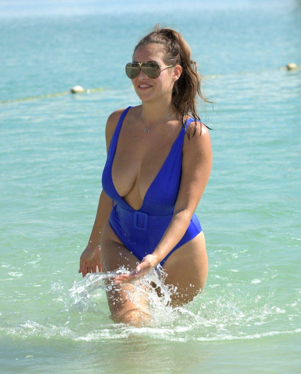 Chloe Goodman Stuns in Her Sexy Blue Swimsuit in Dubai (12 Photos)