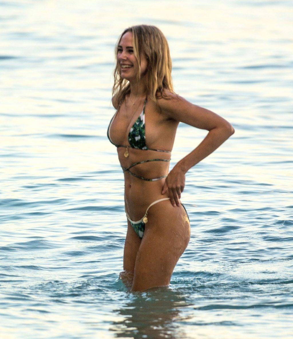 Kimberley Garner Stunts on the Beach in Her Palm Printed Bikini (63 Photos)