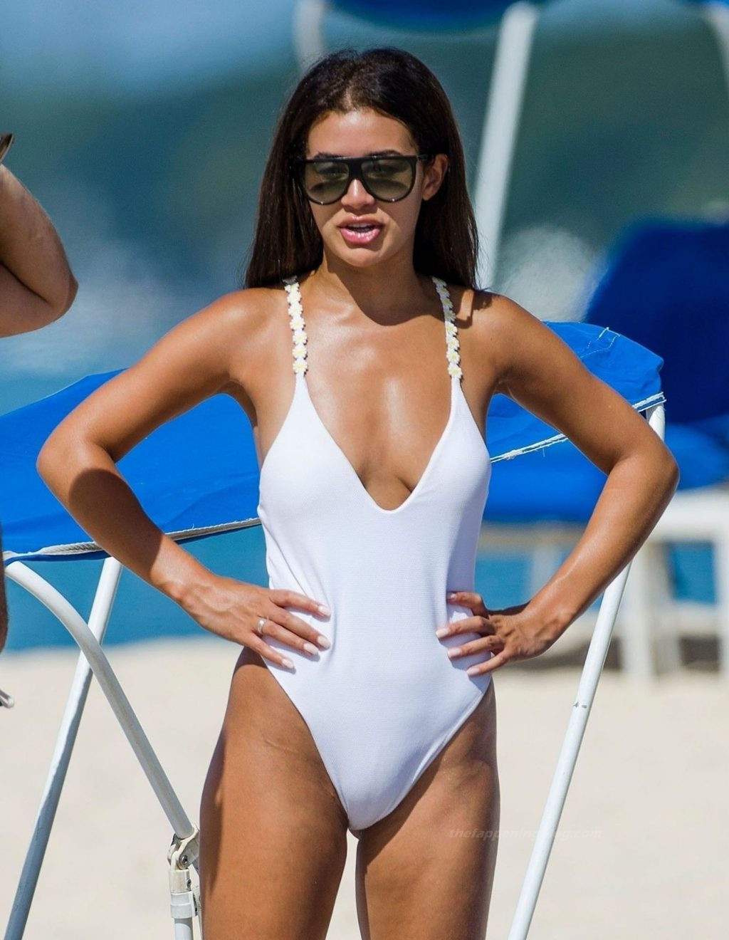 Montana Brown Dons Her Sexy White Swimsuit on the Golden Sandy Beaches of Barbados (32 Photos)