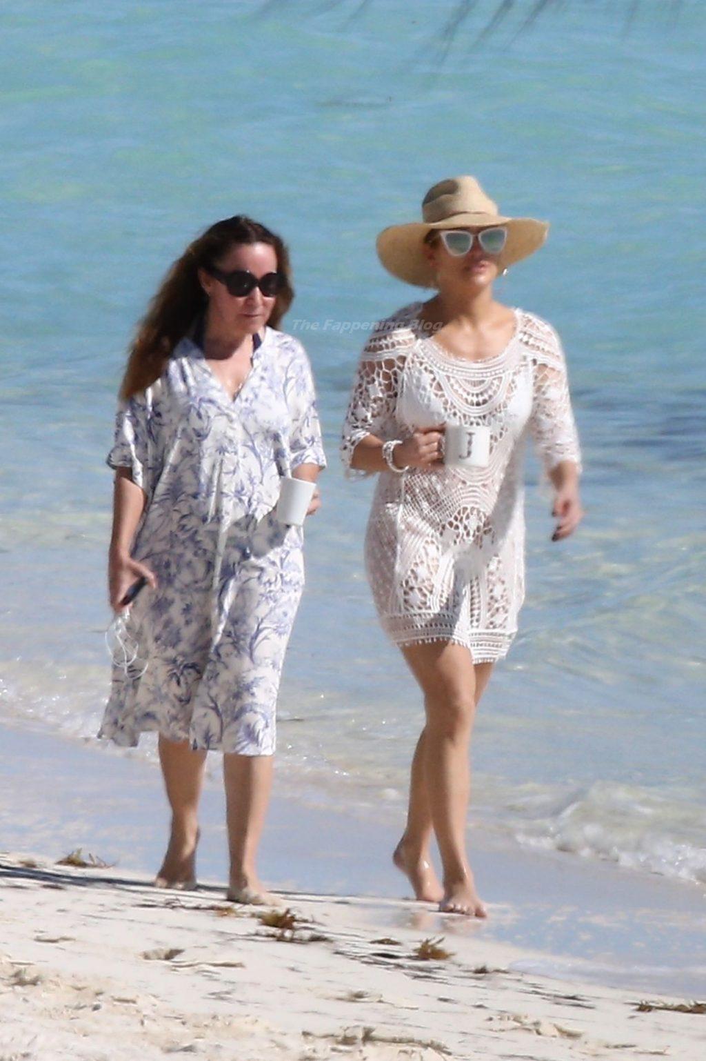 Jennifer Lopez Stuns in a Cheeky White Bikini on the Beach in the Turks and Caicos Islands (43 Photos)