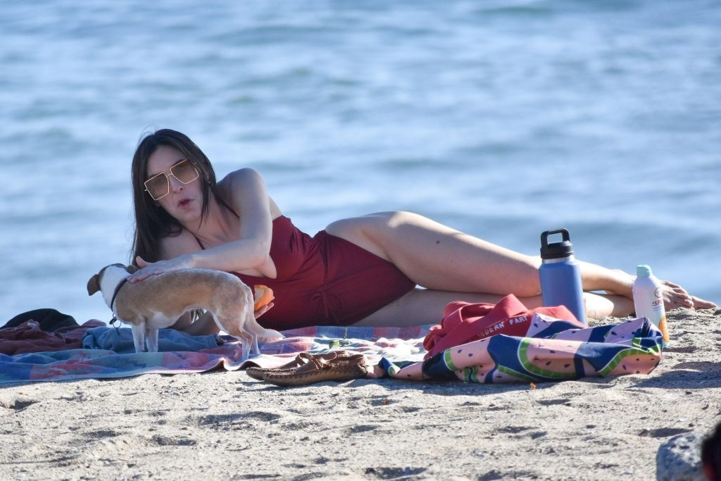 Scout Willis Rocks a Red Swimsuit While Enjoying the Day at the Beach (48 Photos)