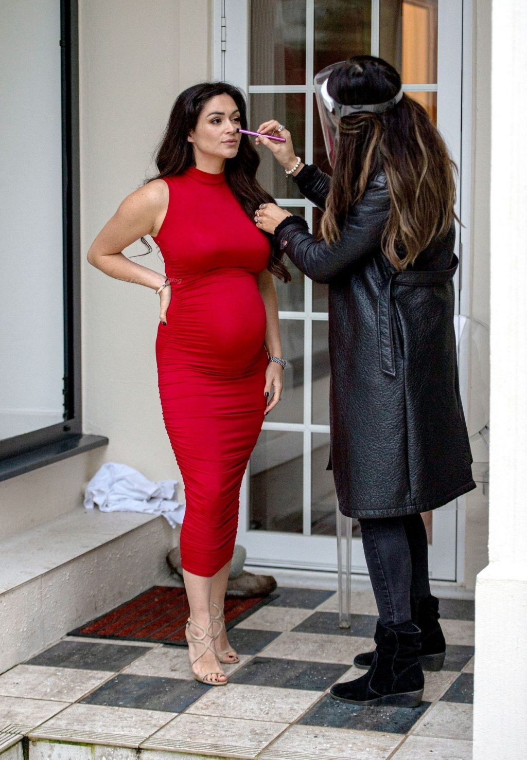 Casey Batchelor Shows Off Her Baby Bump in a Red Dress (14 Photos)