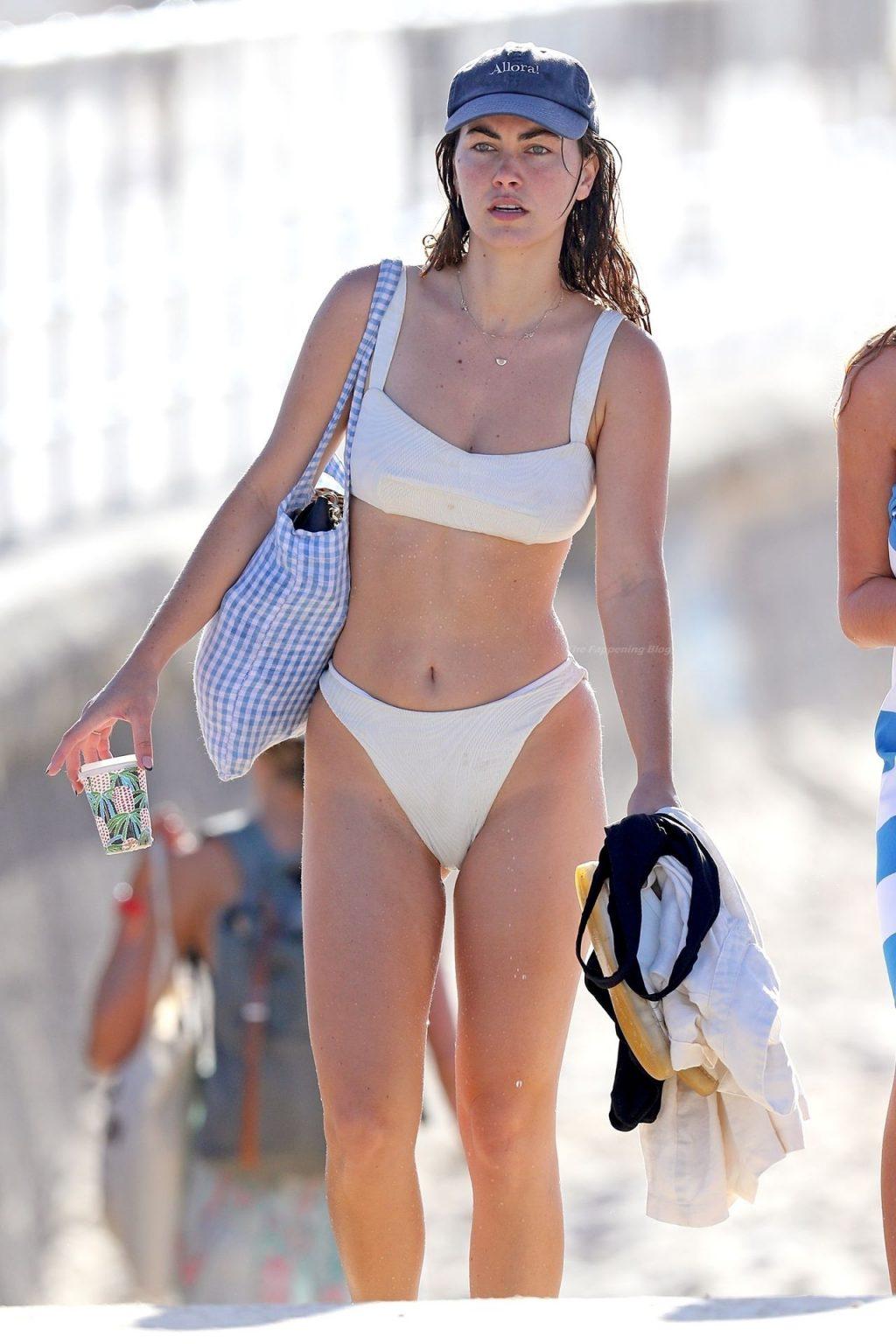 Charlotte Best Hits Bondi Beach Wearing a White Bikini (20 Photos)