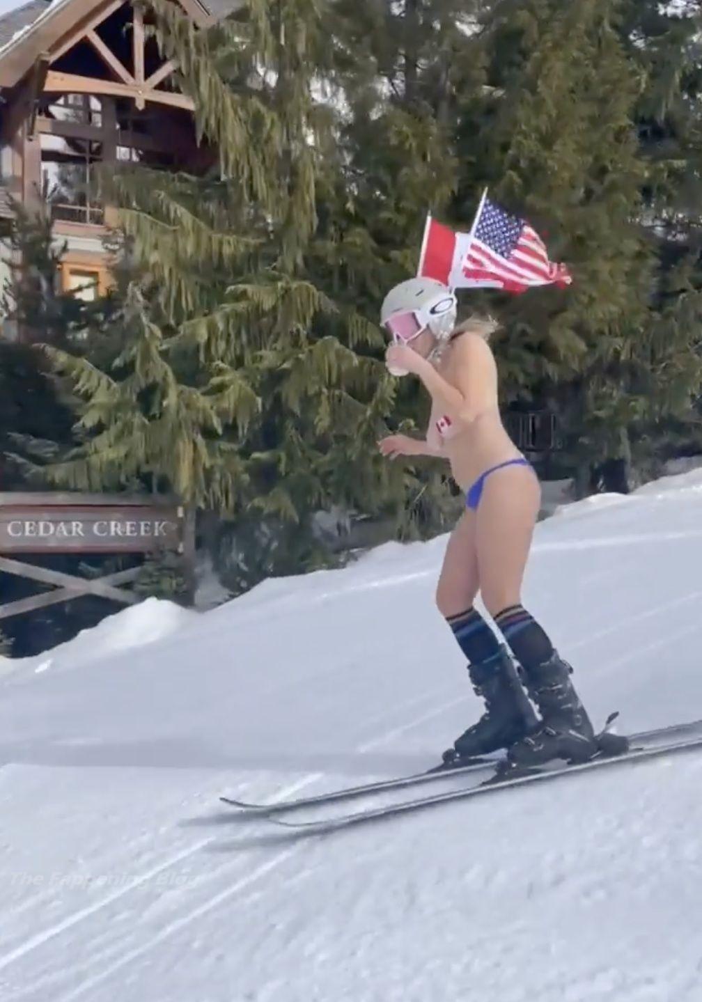 Chelsea Handler Topless Skiing (13 Pics + Video)