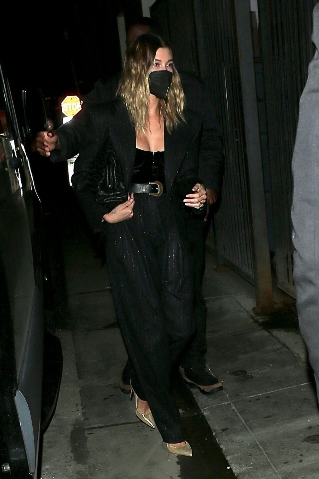 Hailey Bieber Dazzles in All Black Ensemble as She Steps Out for Dinner in WeHo (6 Photos)