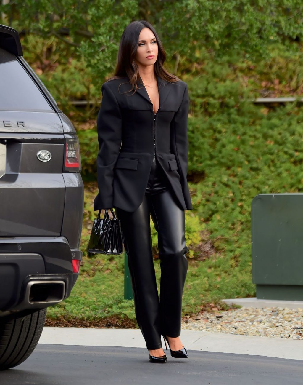Megan Fox Stuns in a Black Blazer and Leather Pants on Her Way to a Meeting (12 Photos)