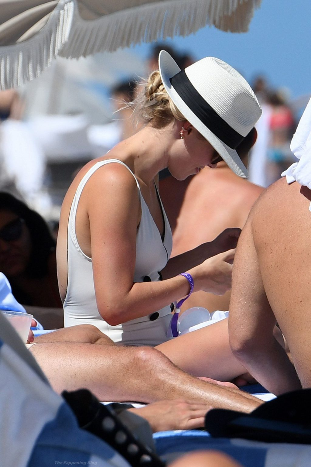 Claire Holt Shows Off Her Pokies in a White Swimsuit on the Beach in Miami (37 Photos)