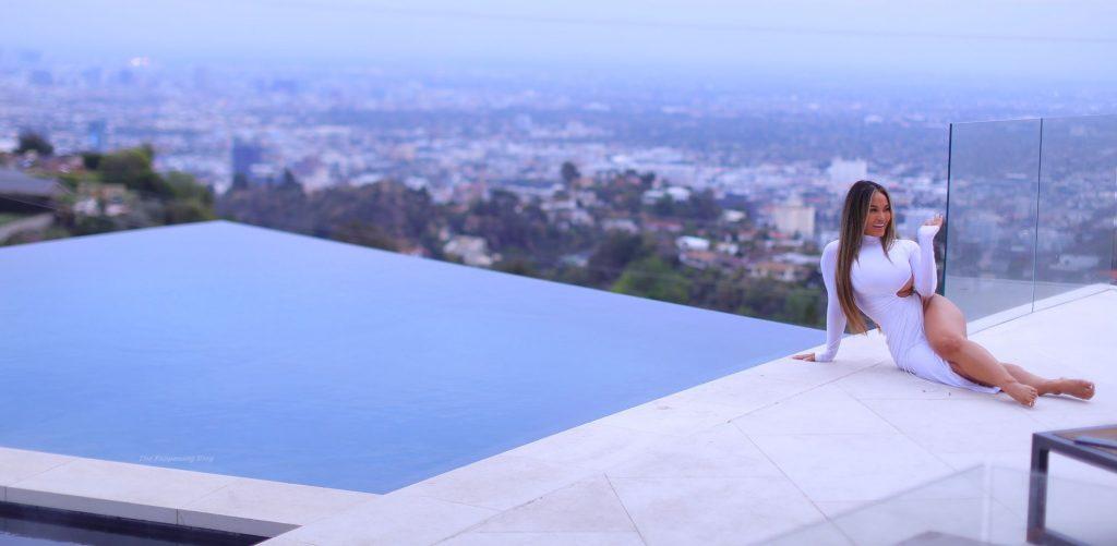 Daphne Joy Flaunts Her Curves in a White Dress (18 Photos)