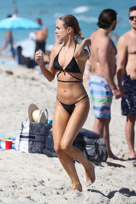 Kimberley Garner Stuns in a Black Bikini on the Beach in Miami (12 Photos)