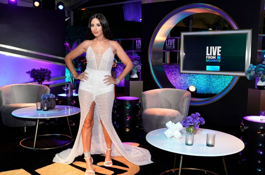 Naz Perez Stuns in a White Dress at the Live From E!: Grammy Awards After Party (3 Photos)
