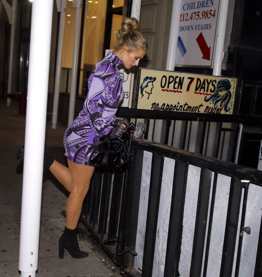 Paris Hilton is Seen Out in NYC Wearing a Purple Mini Dress (11 Photos)