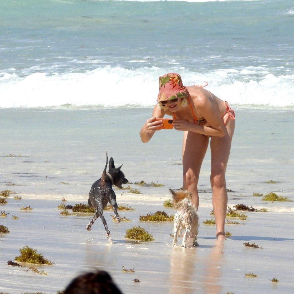 Rose McGowan Wears a Multi-Colored Bikini as She Hits the Beach in Mexico (49 Photos)