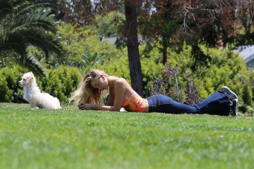 Alexis Ren and Her Adorable Dog Angel are Pictured in the Park (49 Photos)