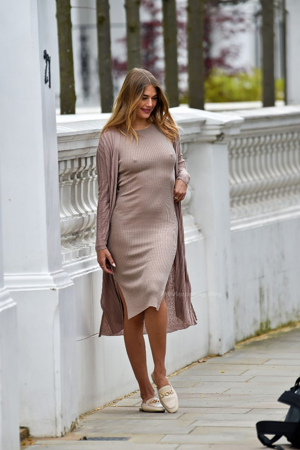 Arabella Chi Goes Braless in a Midi Dress in Chelsea (32 Photos)