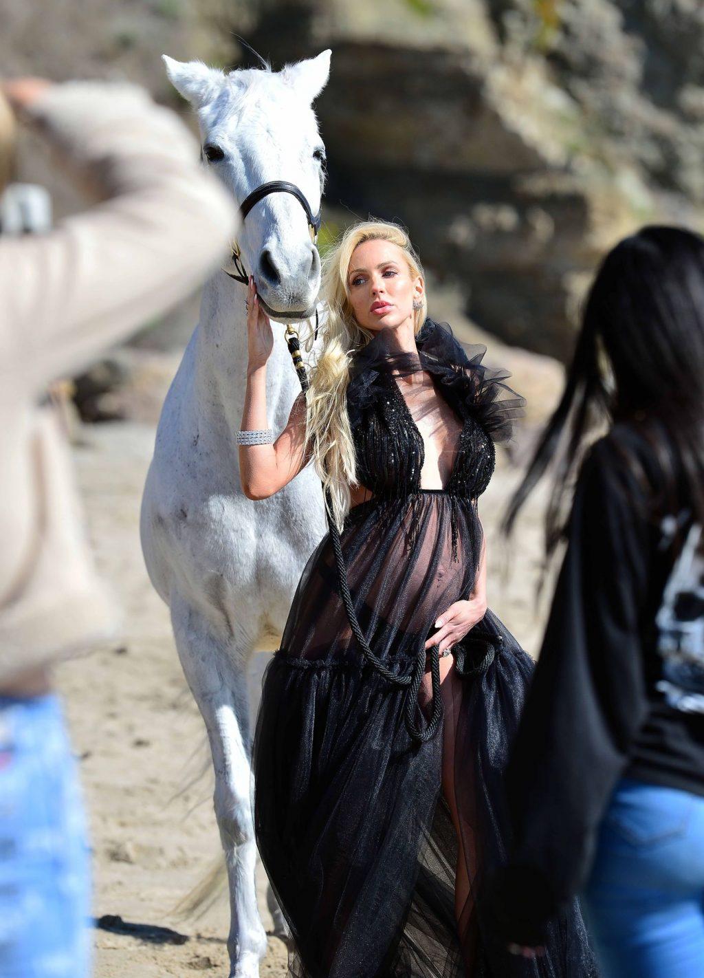 Christine Quinn Shows Her Pregnant Boobs on a Beach Photoshoot with a Horse in Malibu (32 Photos)