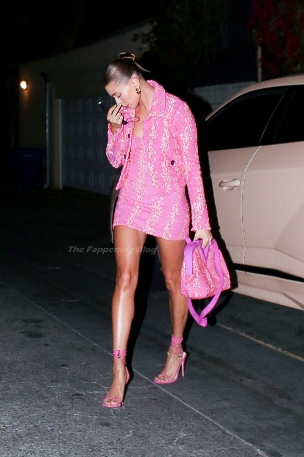 Hailey Bieber Looks Pretty in Pink as She Arrives at Dinner for Oscar Weekend (27 Photos)
