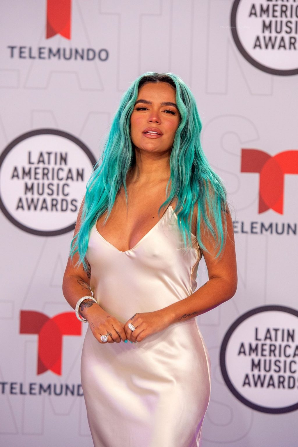 Braless Karol G Shows Her Pokies on the Red Carpet of the Sixth Annual Latin American Music Awards (5 Photos)