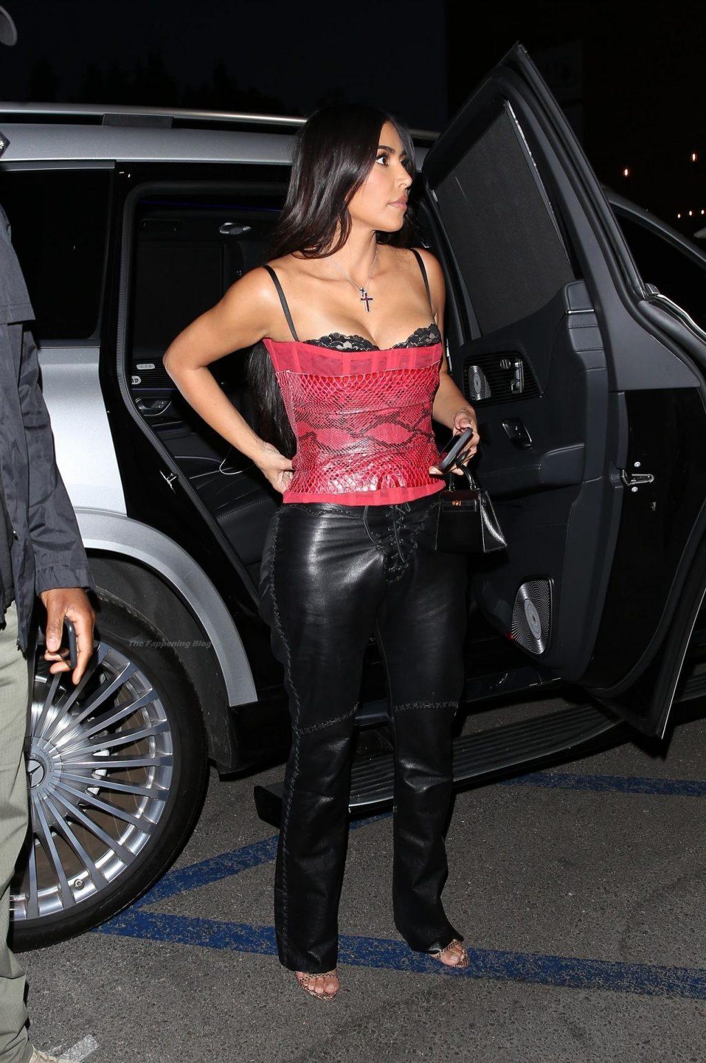Kim Kardashian Sizzles in Red Snakeskin Leaving a Late Dinner in LA (45 Photos)