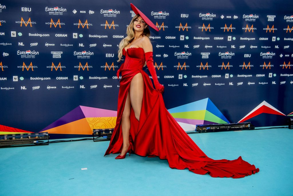 Anxhela Peristeri Stuns in a Red Dress at the 65th Eurovision Song Contest (12 Photos + Video)