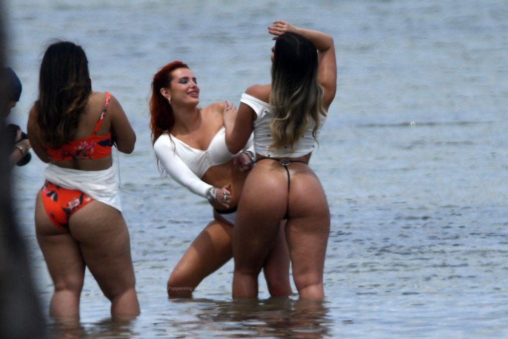 Bella Thorne Poses in a White Bikini During a Photoshoot on the Beach in Miami (53 Photos)