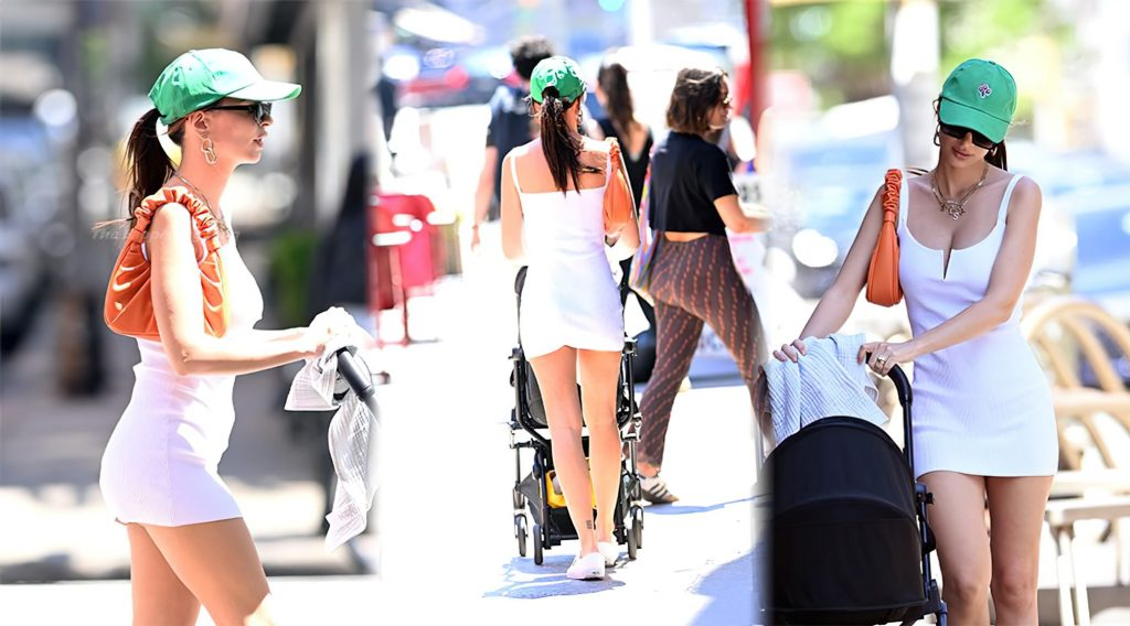 Emily Ratajkowski Wears a White Dress and Flaunts Long Legs While at Lunch in NYC (22 Photos)