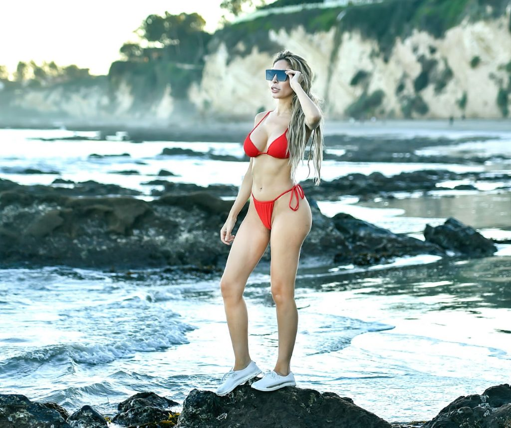 Farrah Abraham Shows Off Her Hot Body in a Red Bikini at the Beach in Malibu (40 Photos)
