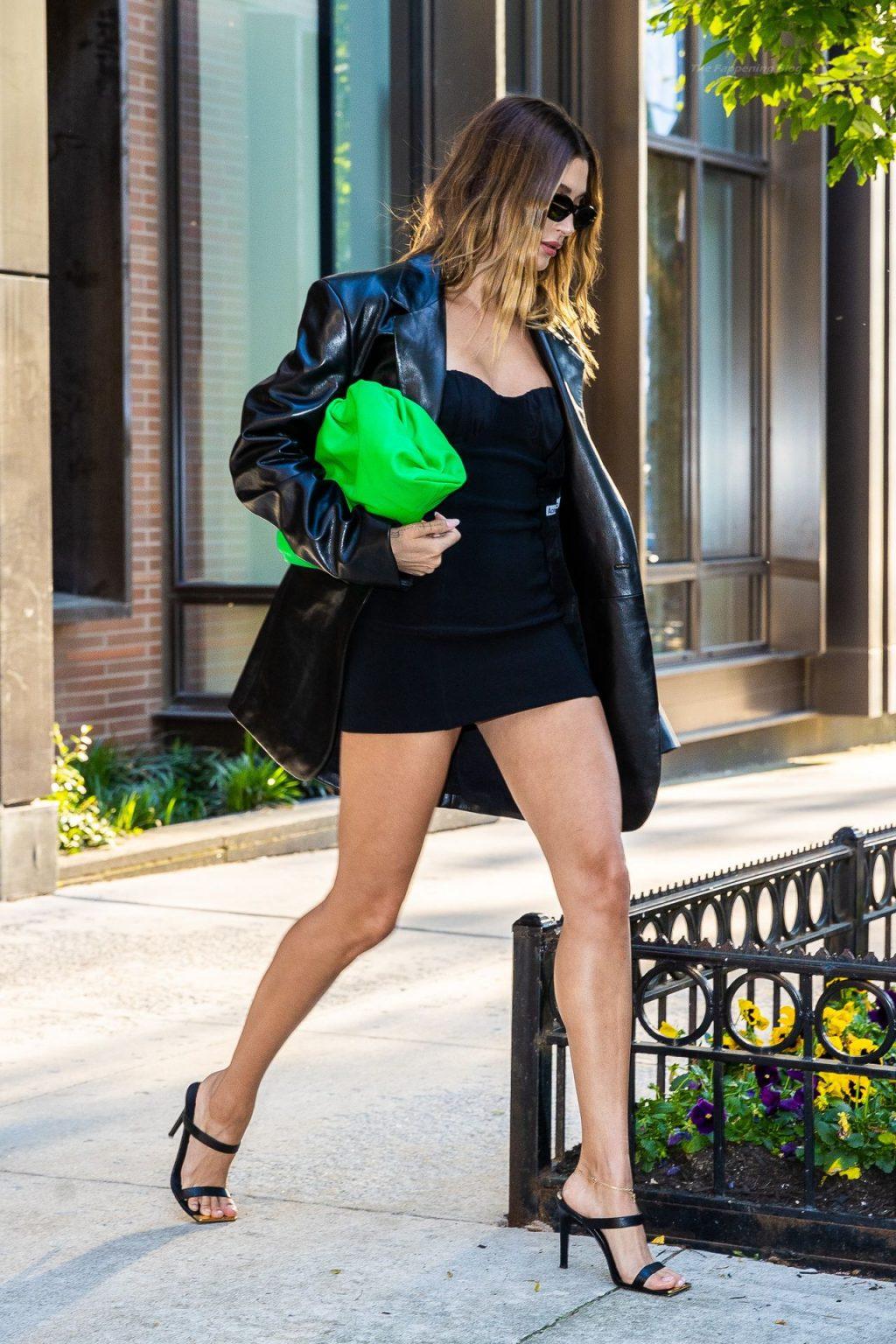 Hailey Bieber is Seen Wearing a Little Black Dress (23 Photos)
