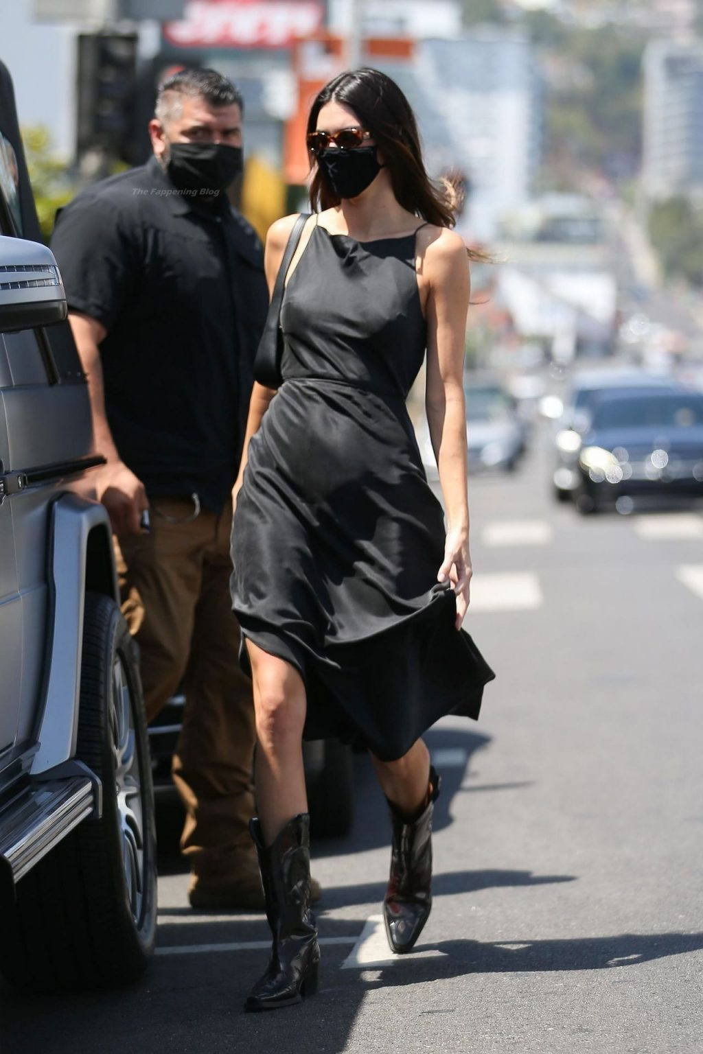 Kendall Jenner Runs Morning Errands in a Black Dress and Western Boots (5 Photos)