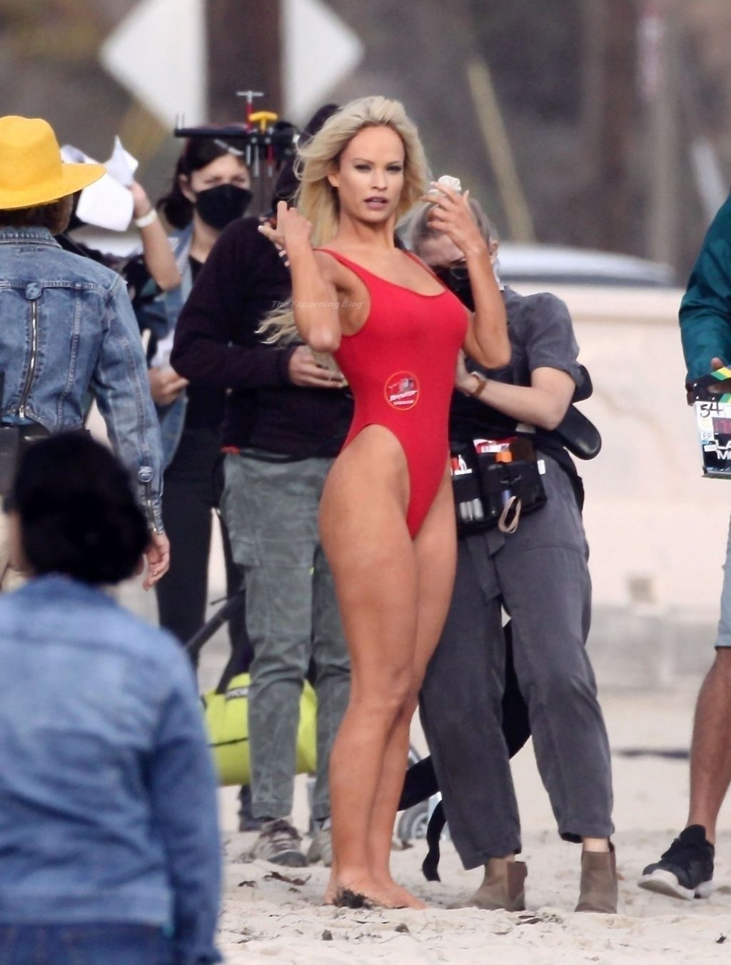 Lily James Transforms Into the Sexy 90's Baywatch Icon Pamela Anderson on the Set in Malibu (147 Photos)