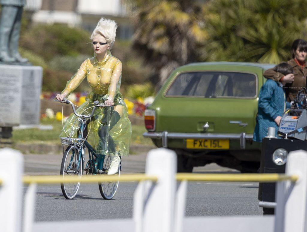 Maisie Williams Rides Bike On Set of New 'Sex Pistols' TV Series (21 Photos)