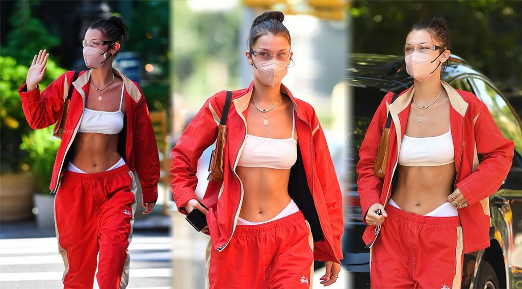 Bella Hadid Turns Heads Once Again in a Cherry Red Tracksuit (19 Photos)
