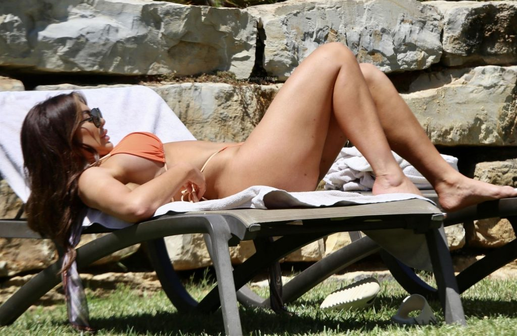 Chloe Ferry Wears Her Orange Bikini as She Sizzles in the Sweltering Heat Out in Portugal (29 Photos)