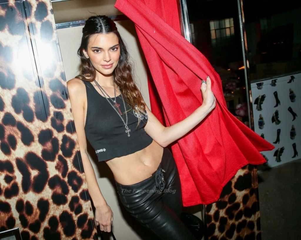 Kendall Jenner Rocks Leather Pants Ahead of Chrome Hearts Dinner Party in WeHo (6 Photos)