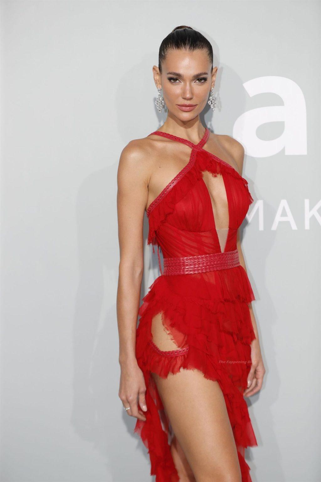 Chiara Sampaio Poses in a See-Through Red Dress at the 74th Annual Cannes Film Festival (13 Photos)