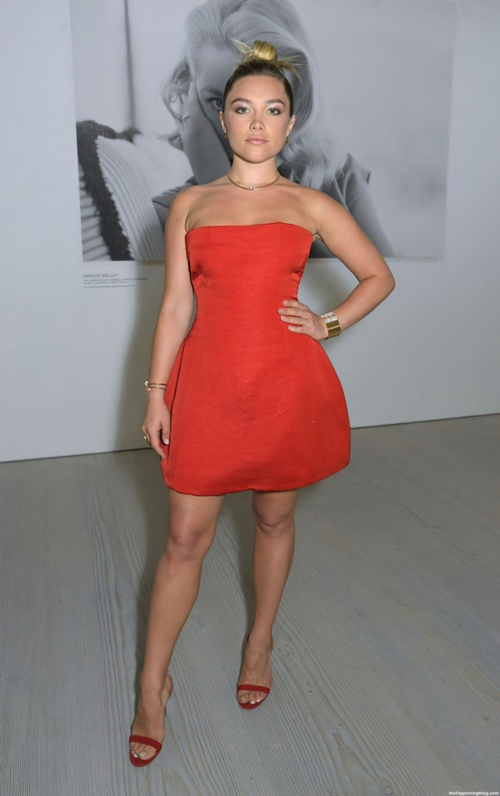 Leggy Florence Pugh Looks Chic in a Red Dress at Art Gallery Event in LA (17 Photos)