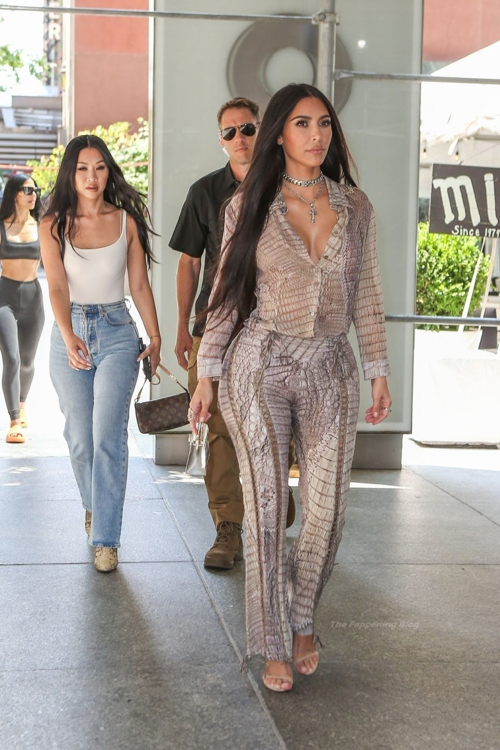 Kim Kardashian Goes Braless in Head to Toe Snakeskin as She is Spotted on Surprise Trip to NYC (22 Photos)