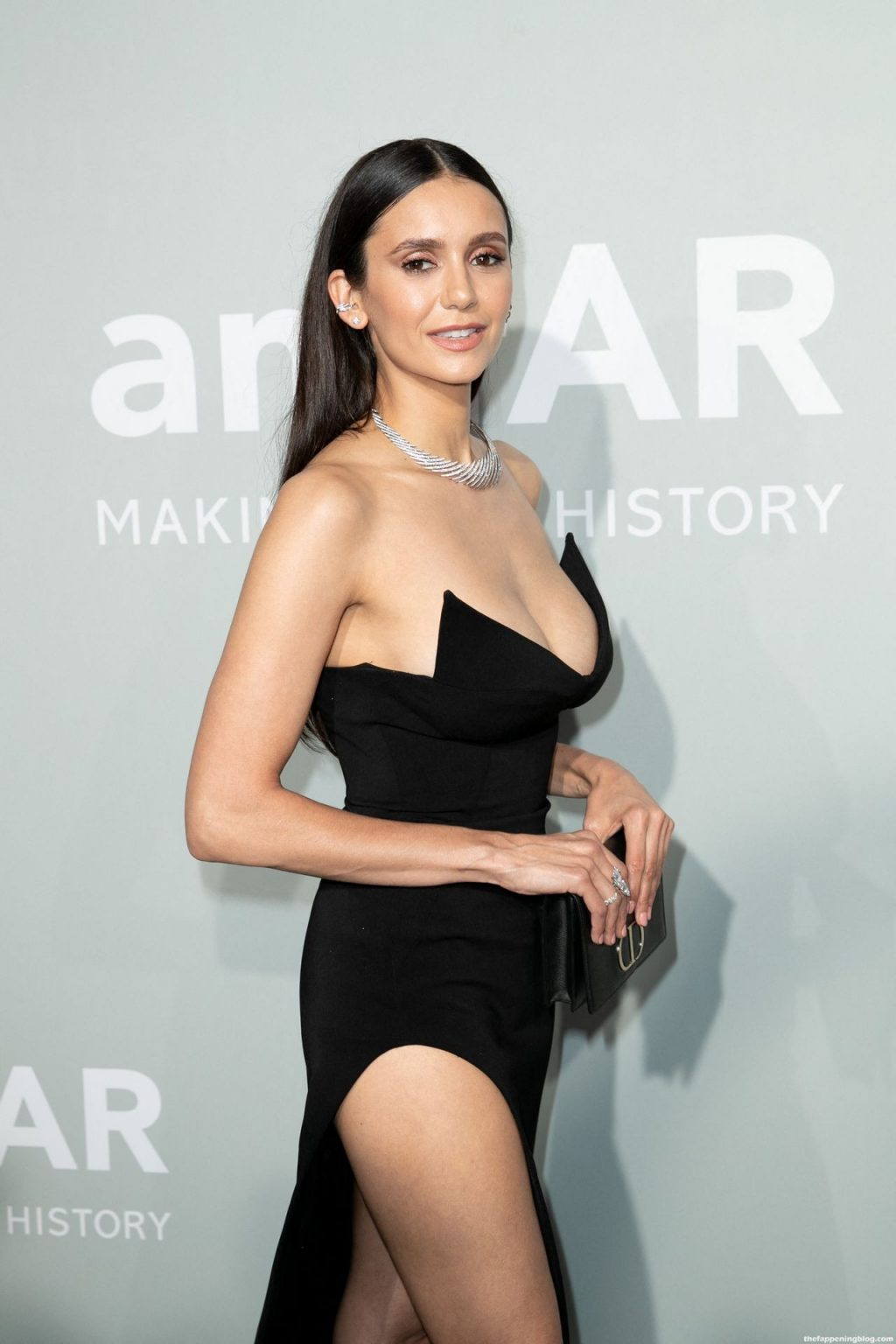 Nina Dobrev Shows Off Her Deep Cleavage at the 27th amfAR Gala in Cannes (25 Photos)