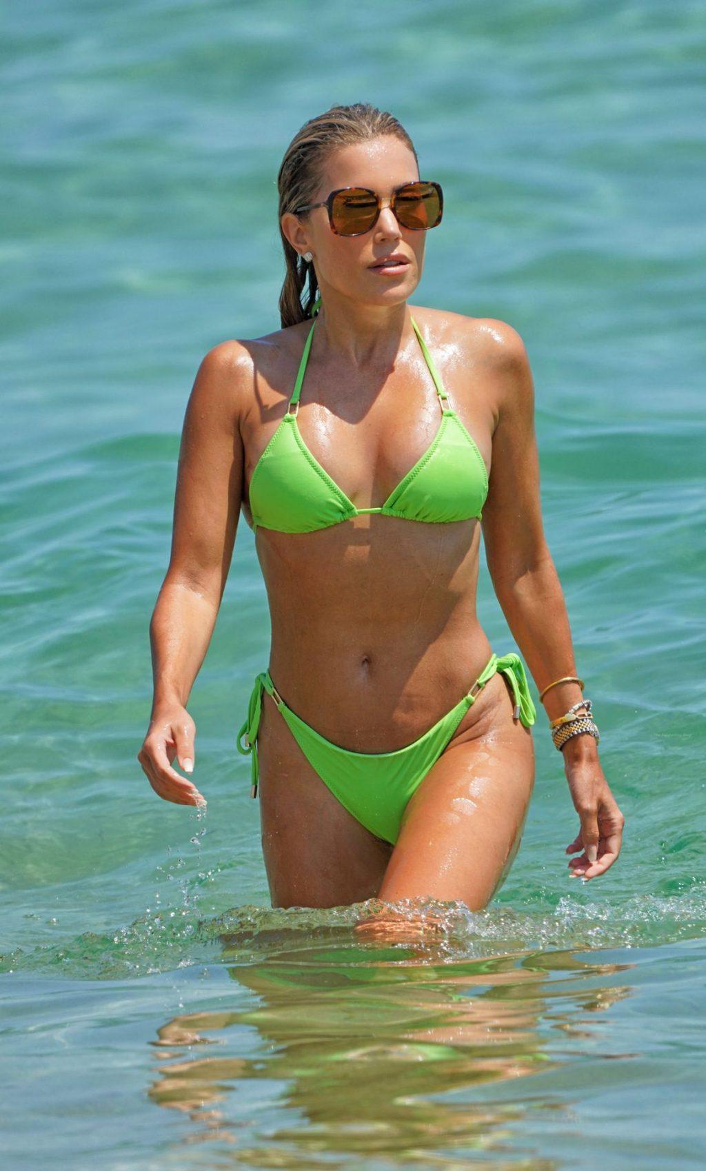 Sylvie Meis Enjoys a Day in a Green Bikini on the Beach in Saint Tropez (35 Photos)