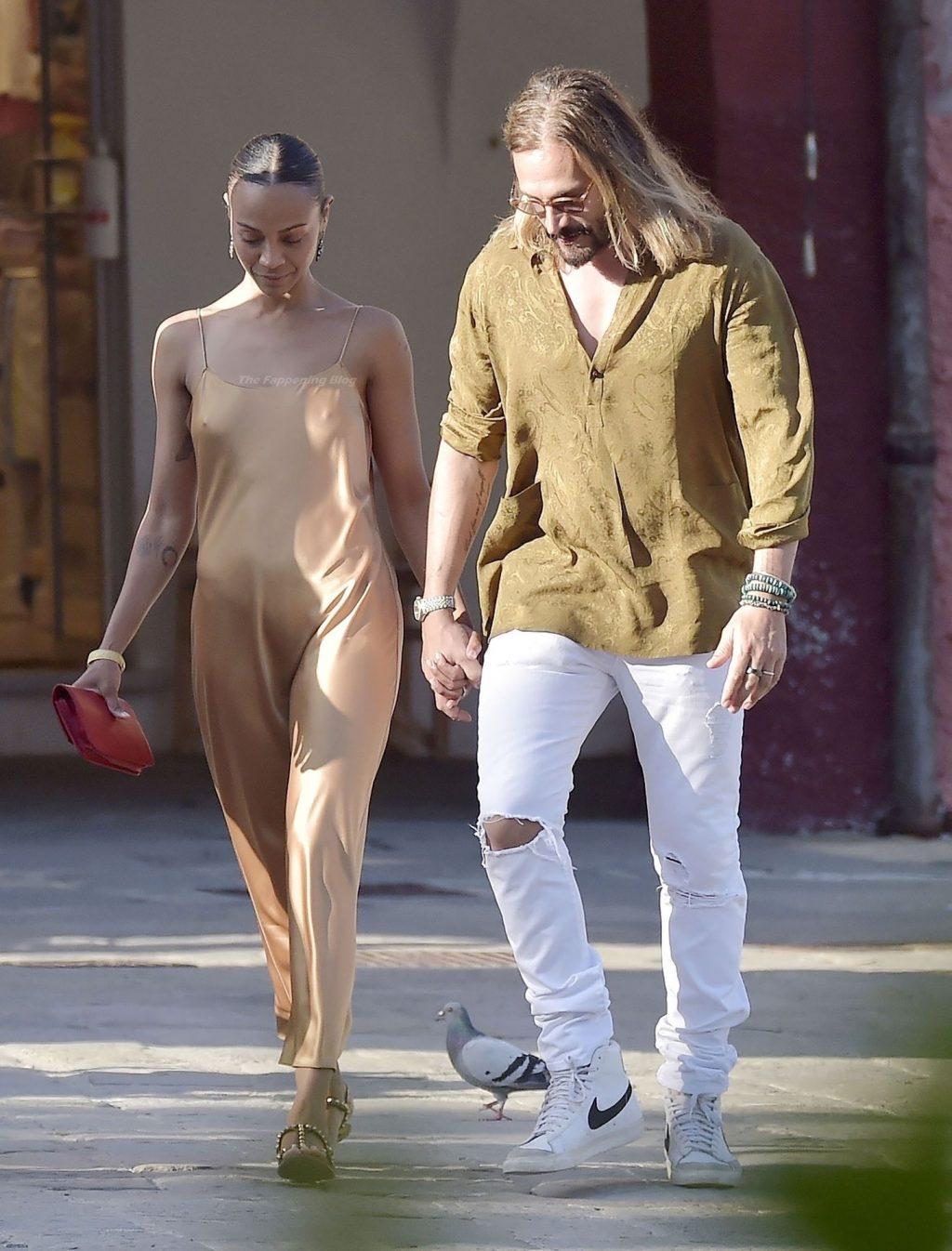 Braless Zoe Saldana Enjoys a Dinner Date with Her Husband in Portofino (21 Photos)
