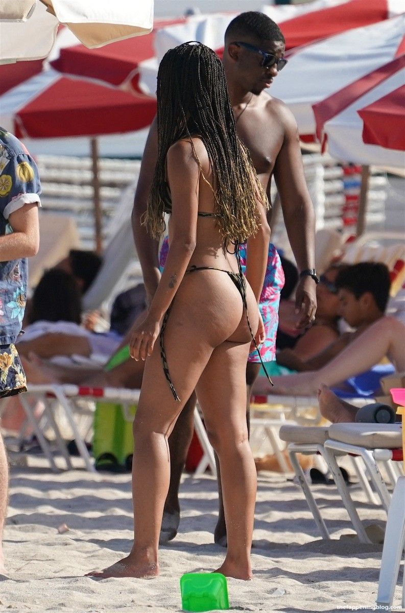 Alisha Boe is Seen in a Brown Bikini at the Beach in Miami (16 Photos)