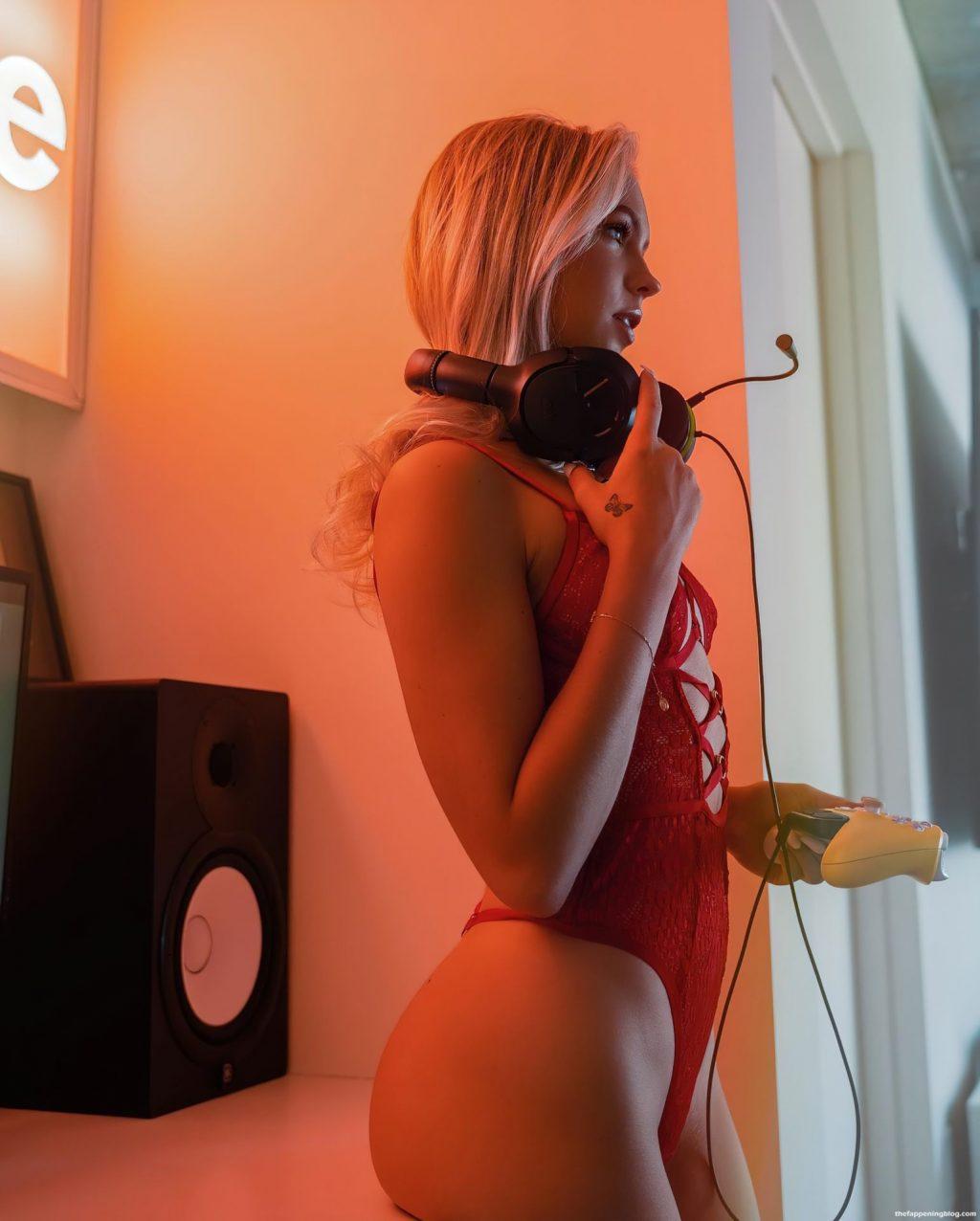 Jordyn Jones Look Sexy in Red Lingerie (10 Photos + Video)