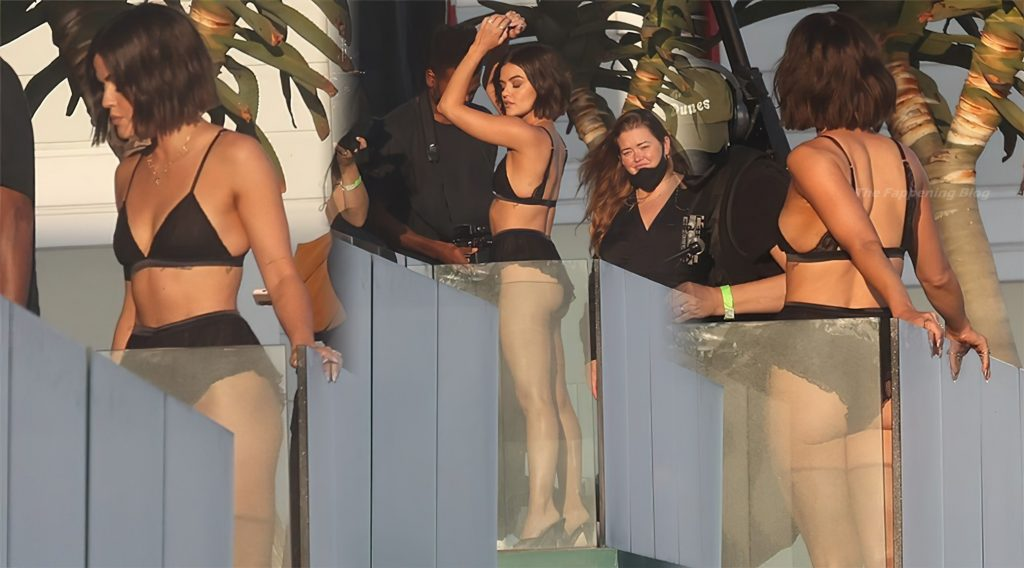 Lucy Hale Models Sexy Black Lingerie on a Beachfront Balcony in Malibu (98 Photos) [Updated]