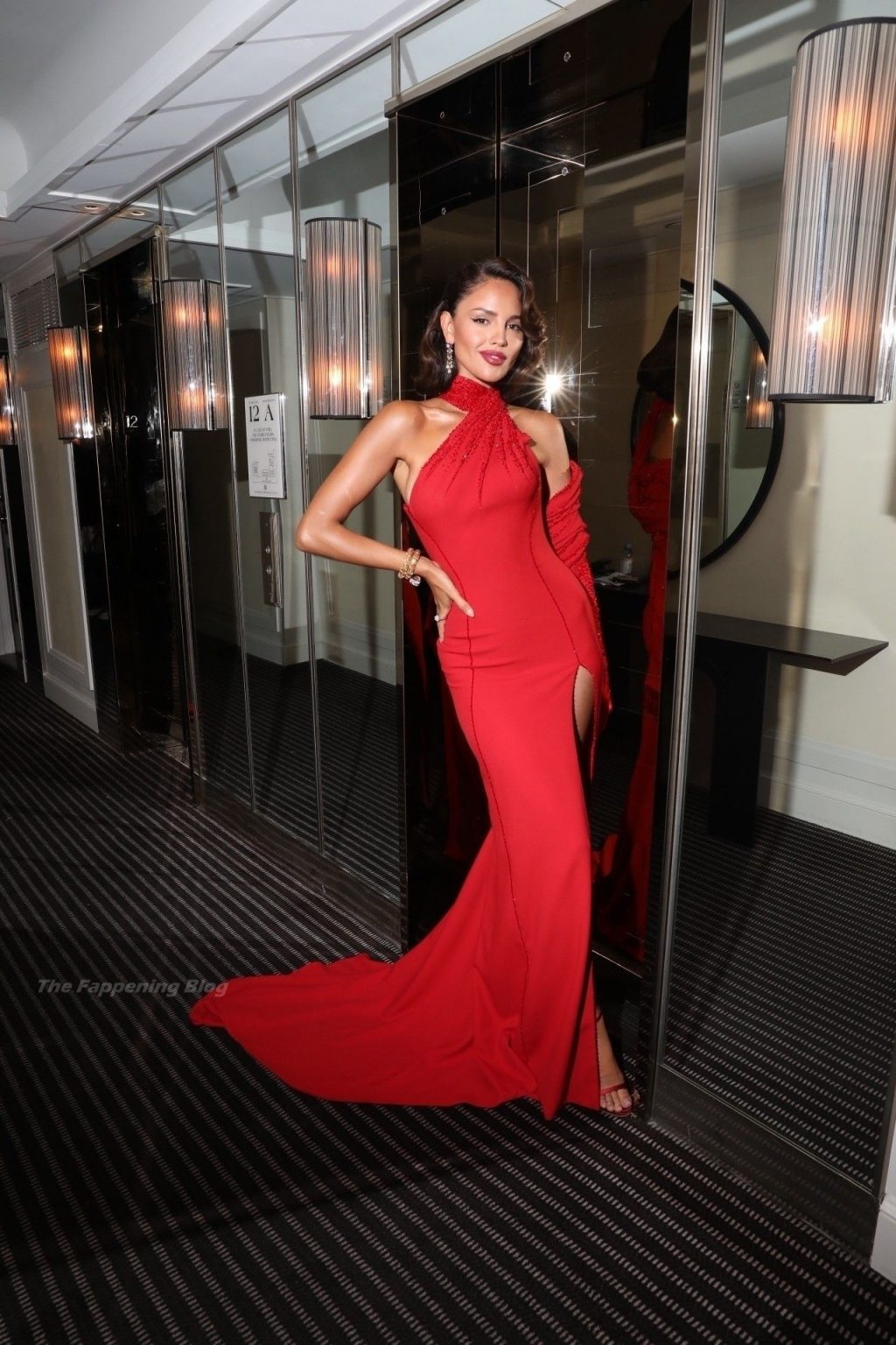 Eiza Gonzalez Pays Homage to Ava Gardner in Scarlet Versace Gown With High Thigh Slit at Met Gala (100 Photos) [Updated]