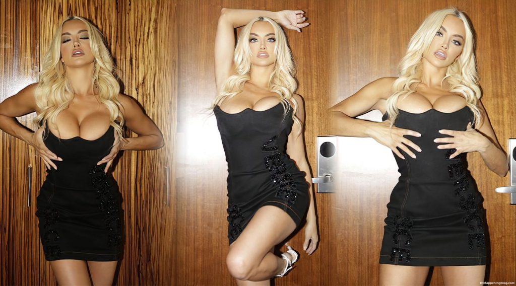 Lindsey Pelas Flaunts Her Cleavage in a Black Dress (10 Photos)